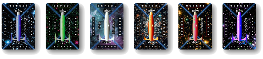 Image of 6 Starship Poker-Sized Cards: Blue, Green, Platinum, Orange, Red, and Purple, in a horizontal row